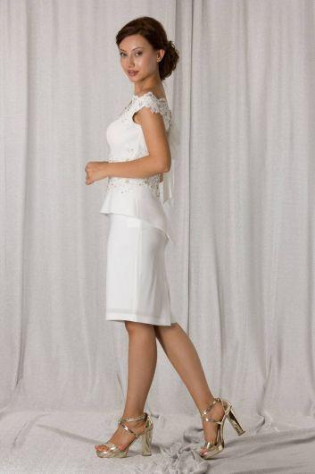 shecca - Вечернее платье цвета экрю с открытой спиной (1)