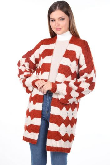 Zigzag Pattern Puffy Sleeve Knitwear Cardigan - Thumbnail