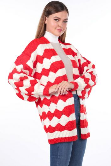 MARKAPIA WOMAN - Zigzag Pattern Puffy Sleeve Knitwear Cardigan (1)