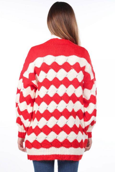Zigzag Pattern Puffy Sleeve Knitwear Cardigan