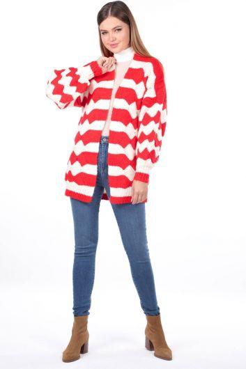 Zigzag Pattern Puffy Sleeve Knitwear Cardigan - Thumbnail