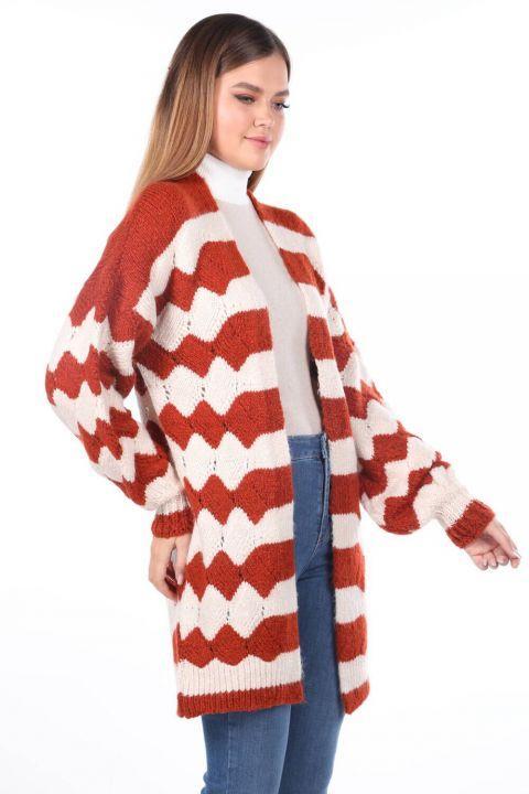 Zigzag Pattern Puffy Sleeve Tile Women's Knitwear Cardigan