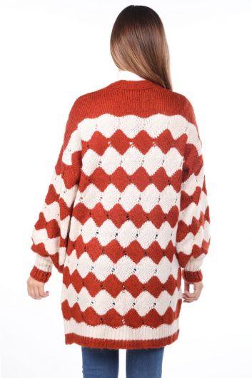 Zigzag Pattern Puffy Sleeve Tile Women's Knitwear Cardigan - Thumbnail