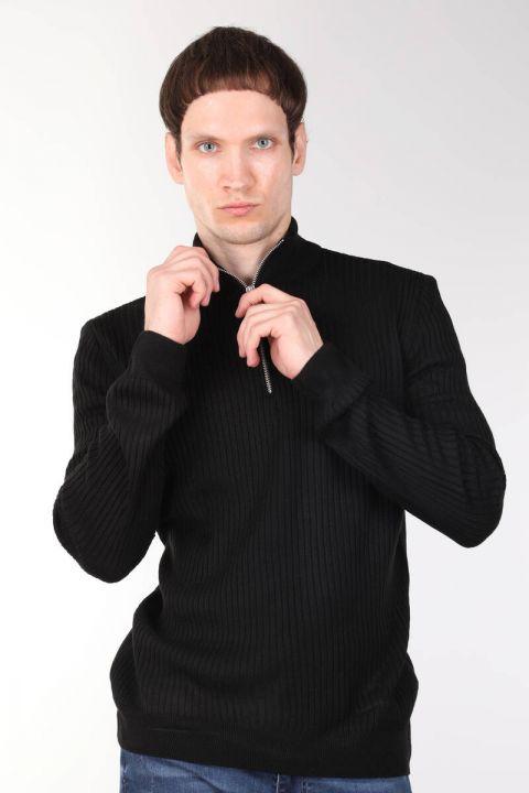Вельветовый черный мужской трикотажный свитер на молнии