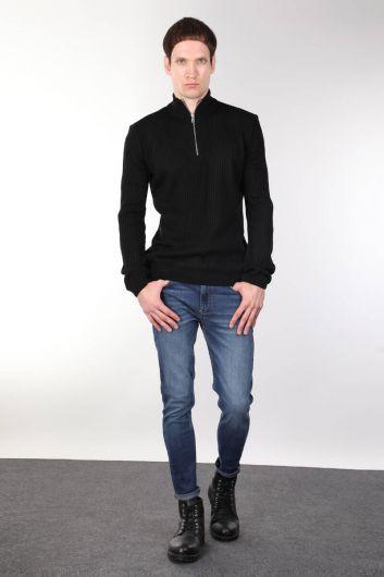 Вельветовый черный мужской трикотажный свитер на молнии - Thumbnail