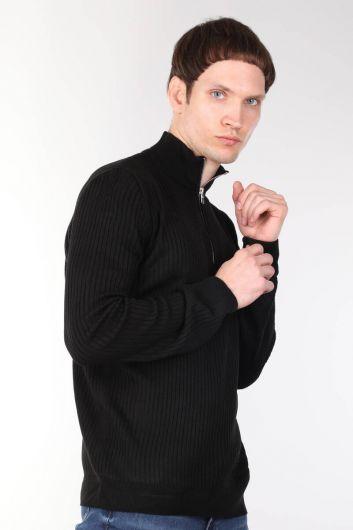 Zippered Corduroy Black Men's Knitwear Sweater - Thumbnail
