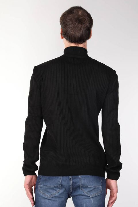 Zippered Corduroy Black Men's Knitwear Sweater