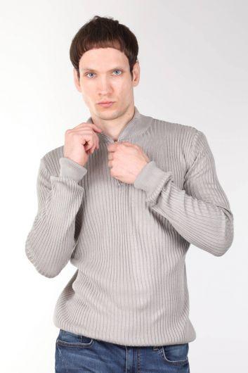 Zipper Corded Men's Knitwear Sweater - Thumbnail
