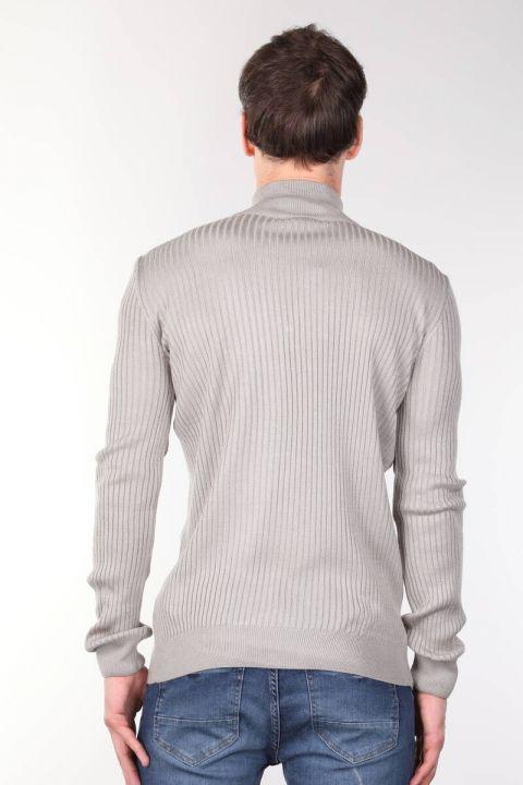 Zipper Corded Men's Knitwear Sweater