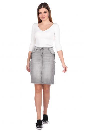 تنورة جينز نسائية رمادية اللون بسحاب - Thumbnail