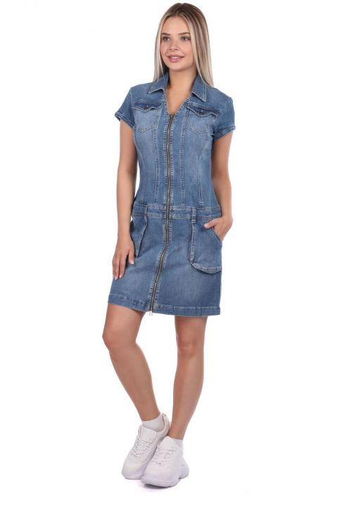 Zipper Detailed Pocket Jean Dress
