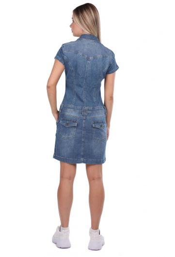 Джинсовое платье с карманами на молнии - Thumbnail