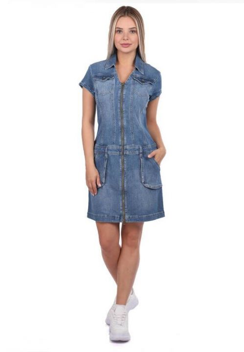 Джинсовое платье с карманами на молнии