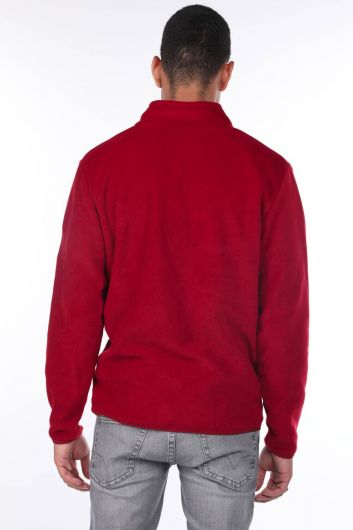 Флисовый мужской кардиган на молнии - Thumbnail