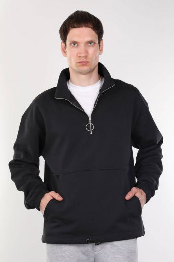 Мужская толстовка темно-синего цвета с шалью и молнией - Thumbnail