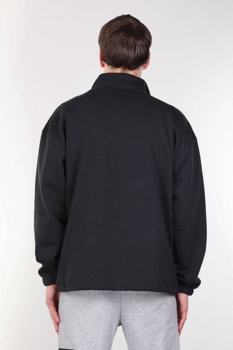 Navy Blue Men's Sweatshirt with Shawl and Zipper