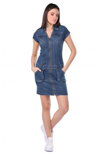 Zipper Pocket Women's Jean Dress - Thumbnail