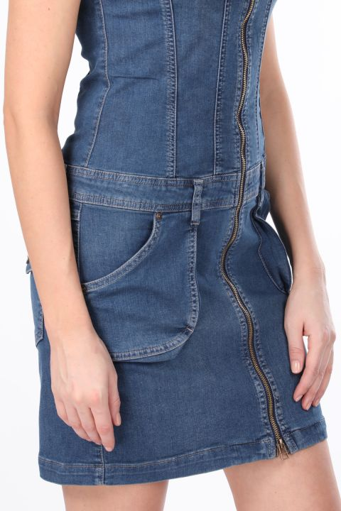 Zipper Pocket Women's Jean Dress