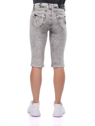 Banny Jeans Zipper Pocket Women's Capri - Thumbnail