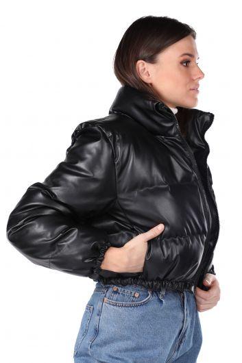 MARKAPIA WOMAN - معطف سستة قصير أسود للمرأة (1)