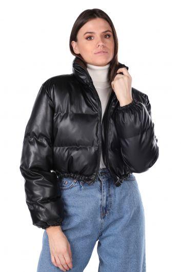 Короткое черное женское пуховое пальто на молнии - Thumbnail