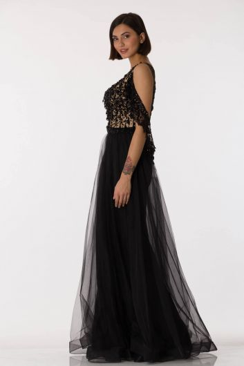 Shecca By Dayi - Sequin Embroidered Tulle Black Evening Dress (1)