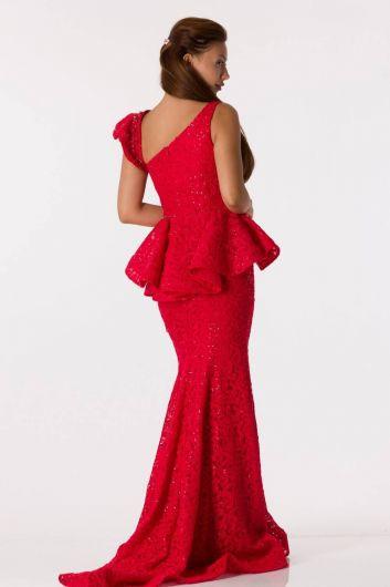shecca - فستان سهرة أحمر فيش مع تفاصيل مكشكشة (1)
